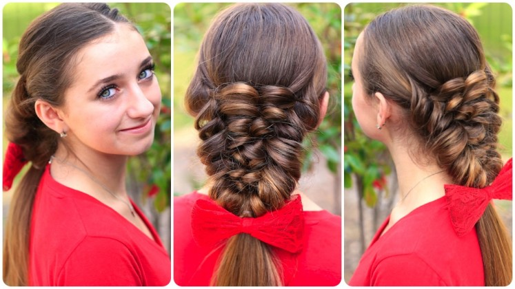 Simple Braid With Poof Hairstyle young girl