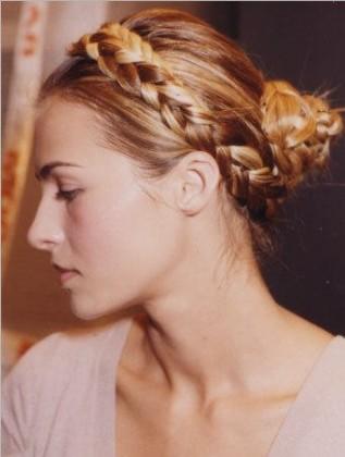 blond French Braided Bun Hairstyle