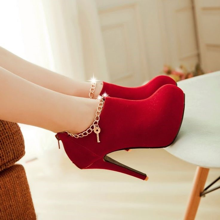 Red shoes for women 2018 high heels