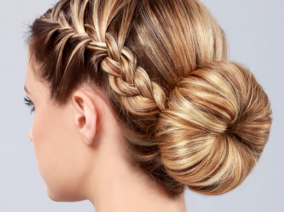 French Braided Bun Hair style blond