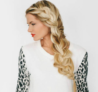 Simple Braid With Poof Hairstyle blonf hairs