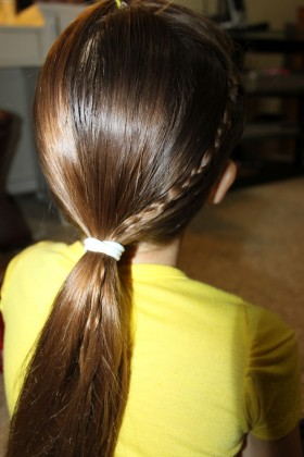 Simple Braid With Poof Hairstyle brown hairs