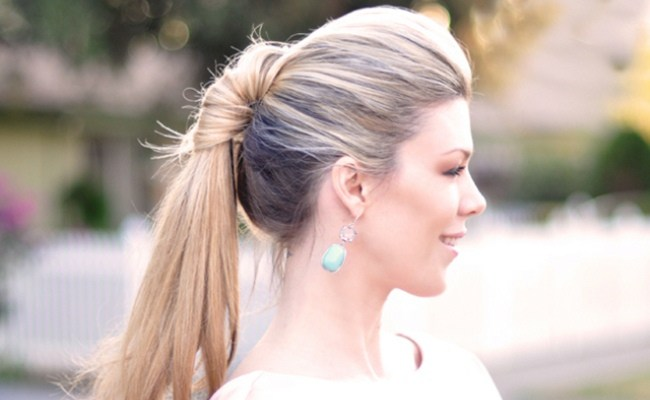 Simple Braid With Poof Hairstyle knotted