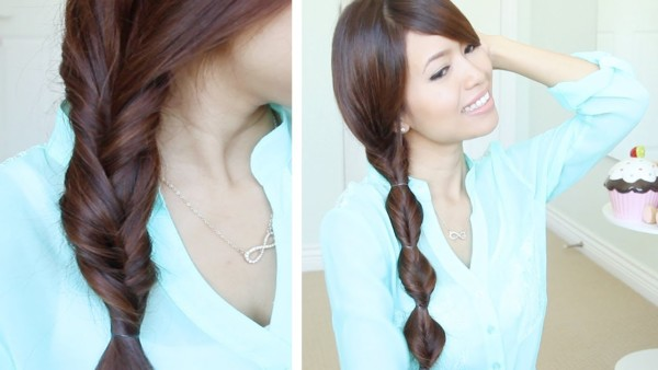 wavy hairs - Simple Braid With Poof Hairstyle