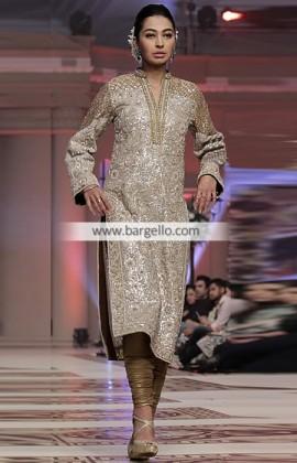 latest pakistani fashion trends - Classy long straight Kameez with churidaar pyjama
