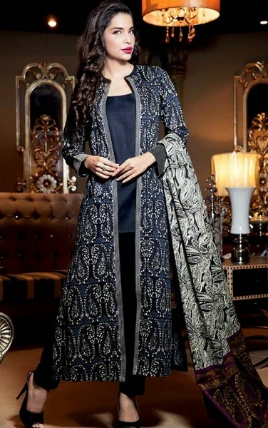 Latest pakistani fashion trends Gul Ahmed Coat Style