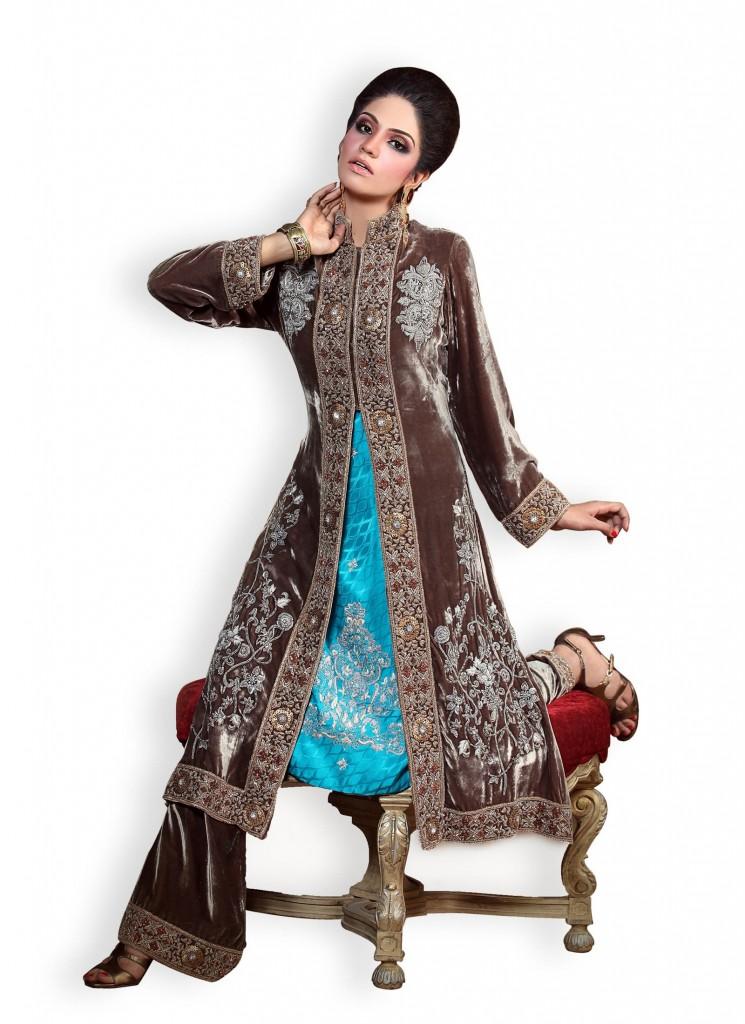 Latest Velvet Salwar Kameez Dresses Designs For Women 2015 In Pakistan 745x1024 Fashion Ki Batain