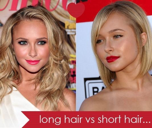short hair vs long hair - hairs style - long hair vs short hair - celebrities in long hairs and short hairs - hair Styles