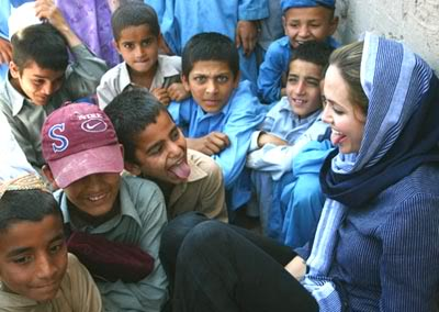 angelina jolie wearing shalwar kameez - salwar kameez - tongue out and playing with childern