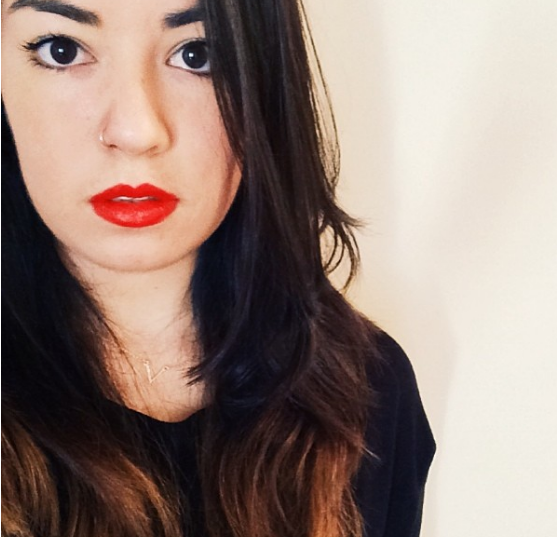 too confident and red lipstick