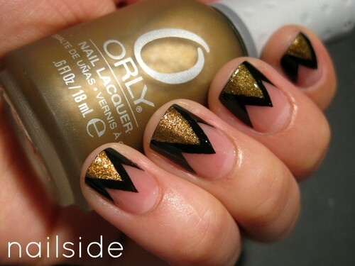 Trendy Triangles Nail Art Design Black And Brown Nail Art With