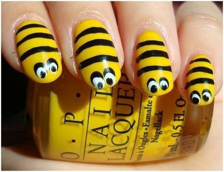 Visual Stripes a colorful nail art design
